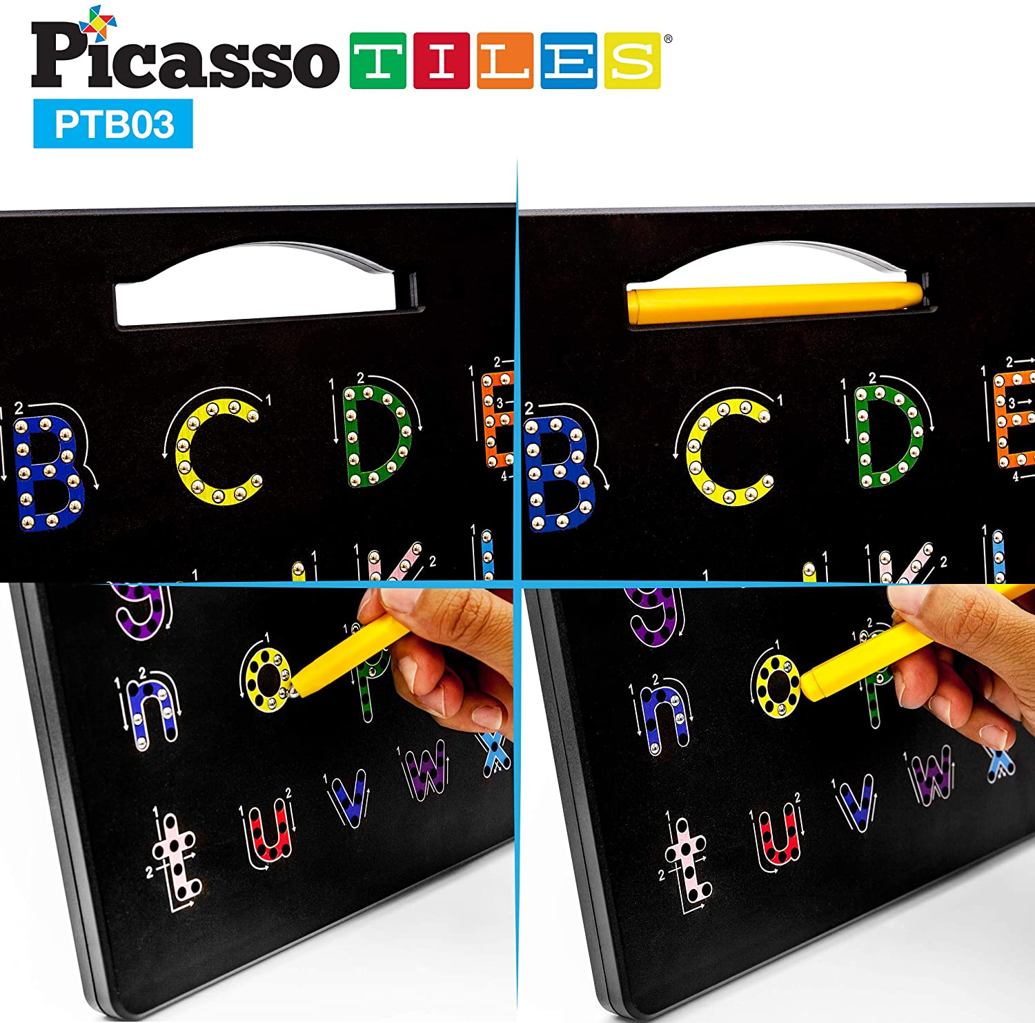 PicassoTiles 2-in-1 Double Sided Magnetic Alphabet Board 🧲 點連點磁珠畫板, 雙面兩用, 大/細楷寫字練習