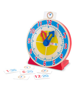 Turn & Tell Clock, with Game Cards & Answers Checking Window 木製學習時鐘, 附答題遊戲卡