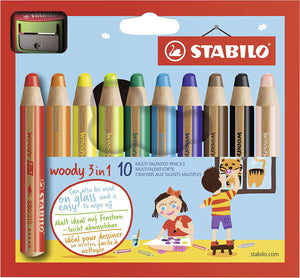 STABILO Woody 3-in-1 Colored Pencils, 10 mm Lead - 10-Color Set 德國品牌 STABILO 獲獎設計 Woody ® 防折斷 3 合 1 顏色筆