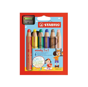 Stabilo Woody Coloring Pencils with Sharpener - Pack of 6 防折斷 3 合 1 顏色筆 -六色