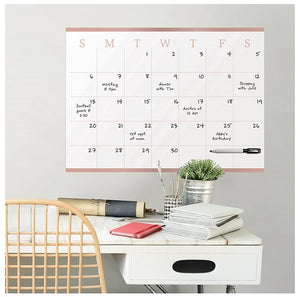 WallPops WPE2340 Vogue Rose Dry Erase Monthly Calendar, Pink