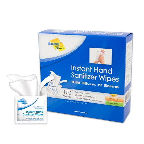 Instant Hand Sanitizer 64% Ethyl Alcohol Wipes - 100pcs 單片獨立包裝消毒紙 Made in USA