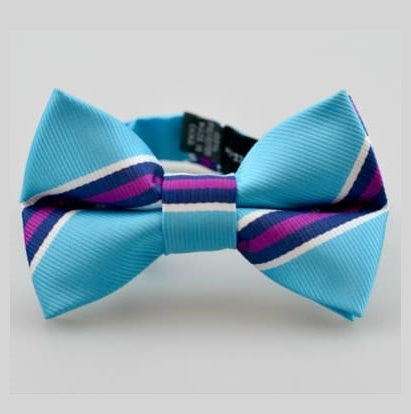 Kid's Bow Tie, Turquoise & Berry Stripe, for age under 8 幼童適用煲呔, 合0-8歲