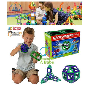 Refill-34-Piece Magnetic Construction Set, Purple/ Green 正版Magformers幾何磁石拼砌34件補充裝