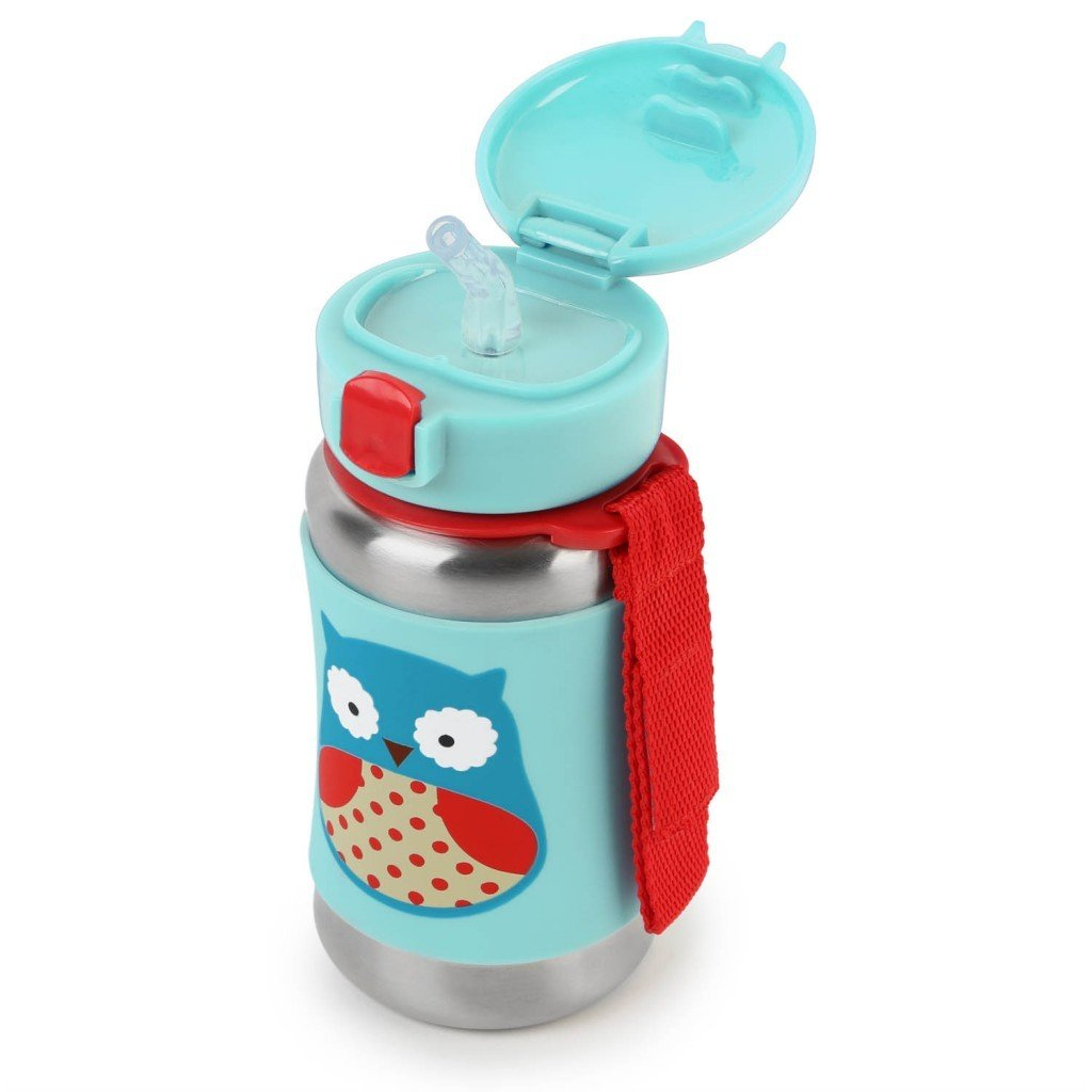 Skip Hop Water Bottle With Straw, Stainless Steel Sippy Cup 350ml 不鏽鋼飲管水壺