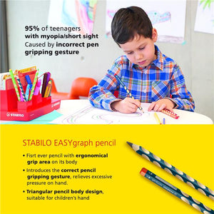 Easygraph HB Right Handed Handwriting Pencil - Petrol (Pack of 12) 左/ 右手專用三角鉛筆, 一打裝