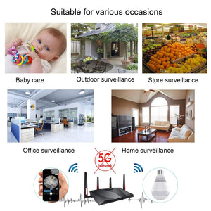 1080P WiFi Secuity Bulb Camera 360 Degree HD Night Vision Automatic Detective