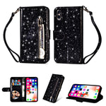 Bling Glitter Leather Zip Wallet Phone Case