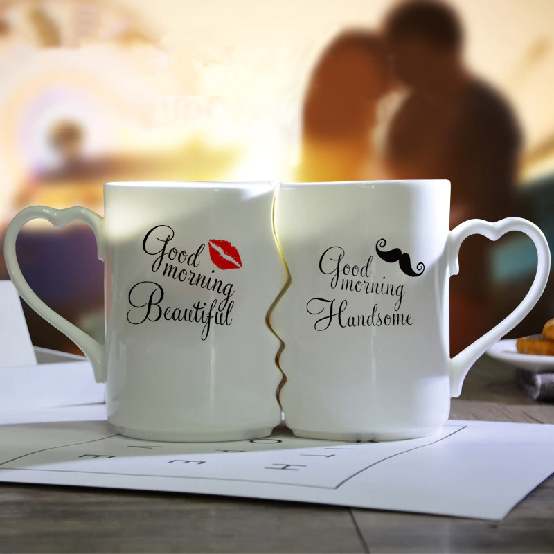 Couple Cup Kissing His and Her Porcelain Coffee Mug 2 PC Set