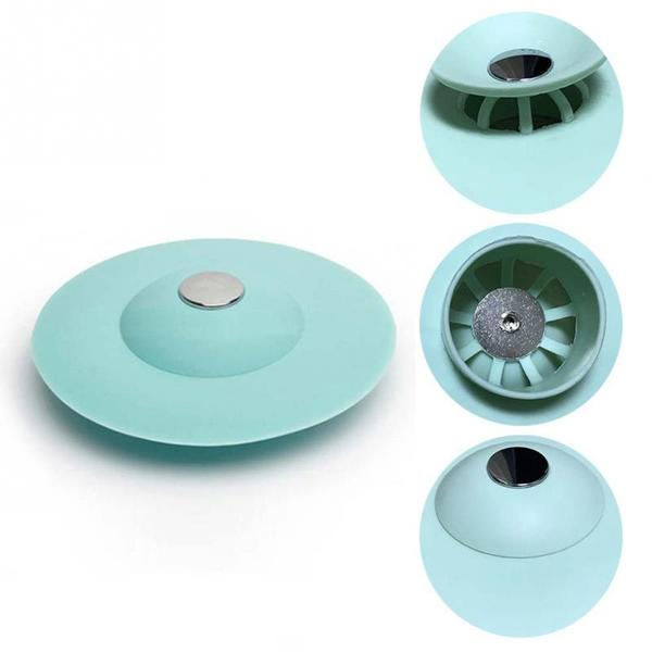 2 in 1 Shower Drain Stopper Plug Bathtub Cover Silicone Hot Bathtub Strainers Protectors