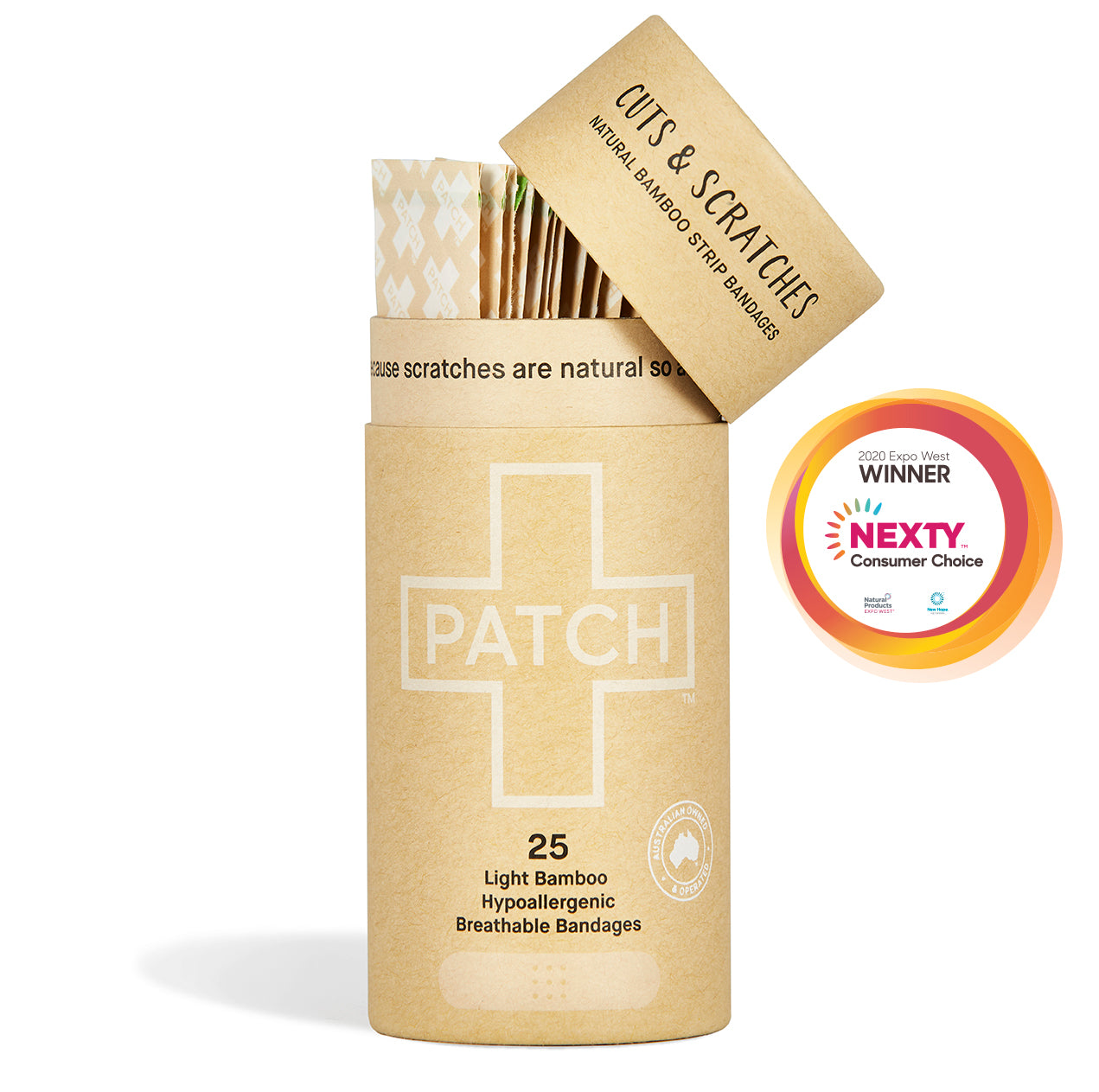 PATCH Natural Adhesive Bandages - Tube of 25