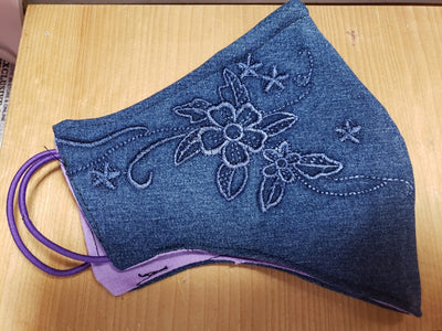 Denim Embroidered Flowers Face Cover w/ Color inside - MSWCUSTOMPRINTS / LADYGRIND.COM