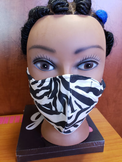 White Zebra Print Face Cover w/ Color inside - MSWCUSTOMPRINTS / LADYGRIND.COM