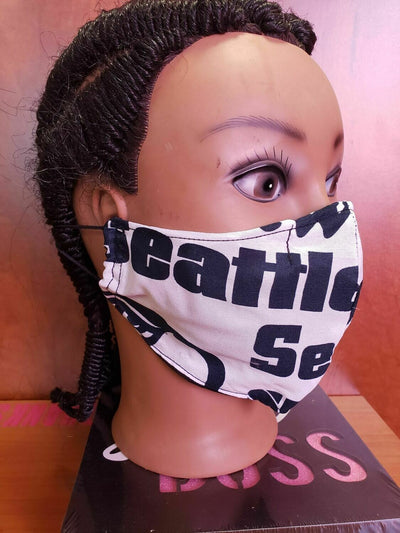 Seattle Print Face Cover Fashion Mask - MSW CUSTOM PRINTS / LADYGRIND.COM
