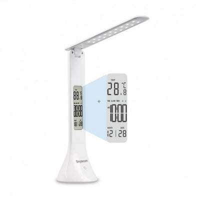 LED Mini Desk Lamp Light Rechargeable with Digital Clock Touch Dimmable
