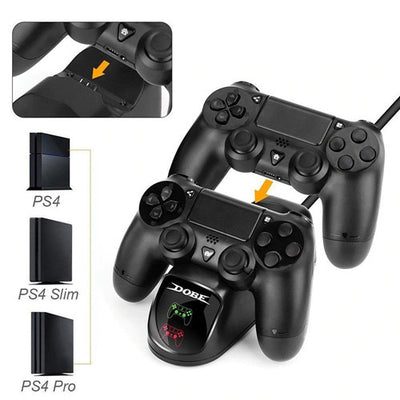 DOBE PS4 Controller Charger Dual Shock 4 Controller Charging Docking Station LED