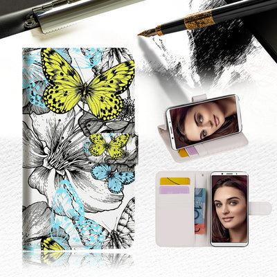 Butterfly Garden Wallet Case Cover For OPPO A3S -- A018