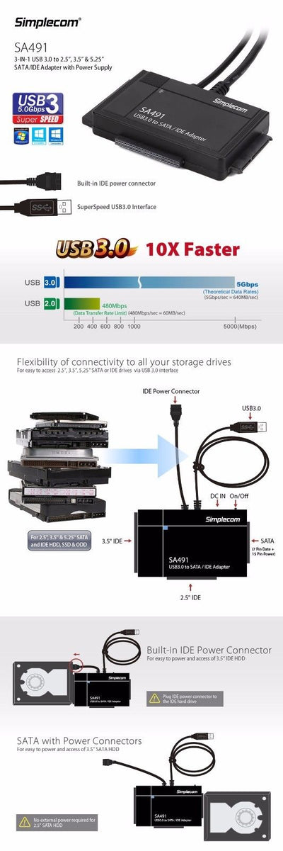 "3-IN-1 USB 3.0 TO 2.5"", 3.5"" & 5.25"" SATA/IDE Adapter with Power Supply"