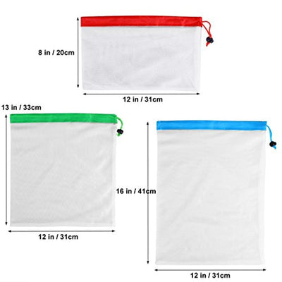 12Pcs Reusable Mesh Produce Bags Washable Eco Friendly