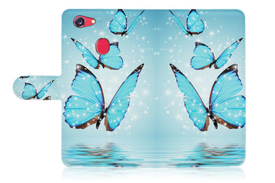 Cyan Butterfly Wallet Case Cover For OPPO R17 -- A019