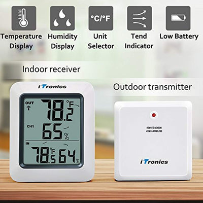 TP60 Digital Hygrometer Indoor Outdoor Thermometer Humidity Monitor