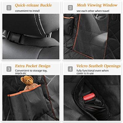 Dog Seat Cover with Seatbelt Mesh Viewing Windowand & Storage Pocket Waterproof