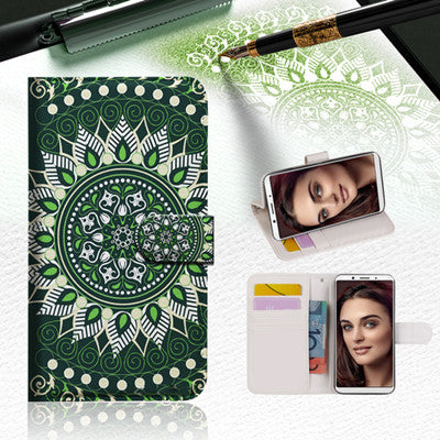 Green AZTEC TRIBAL Wallet TPU Case Cover For OPPO R15 Pro -- A002`
