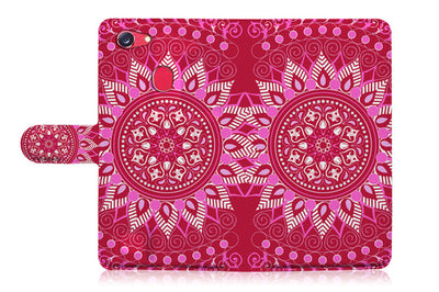 Hot Pink AZTEC TRIBAL Wallet TPU Case Cover For OPPO R17 -- A004