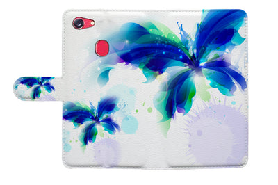 Blue Butterfly Wallet Case Cover For OPPO R15 -- A009