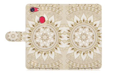 White AZTEC TRIBAL Wallet TPU Case Cover For OPPO A3S -- A006