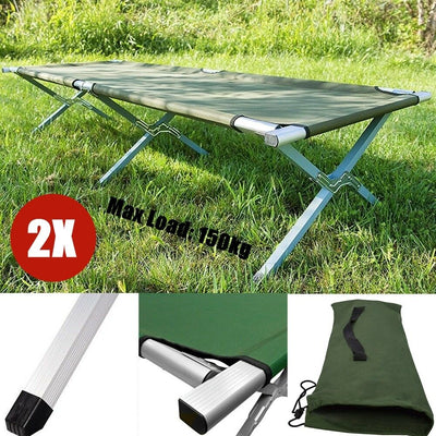 2X Folding Camping Bed Stretcher Light Weight Camp Portable Outdoor w/ Carry Bag