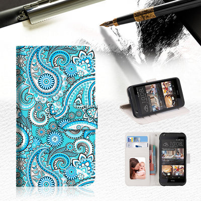 Seamless pattern with paisley Wallet TPU Case Cover For HTC Desire 530-- A022