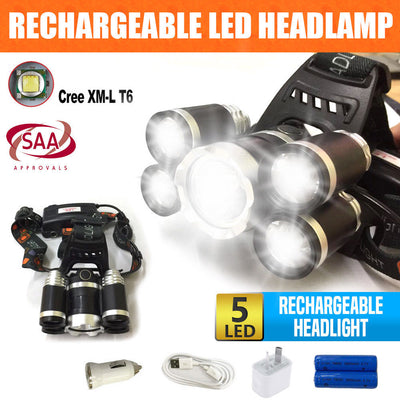 80000LM Cree 5t6 Xml Rechargeable Led Headlamp Headlight Torch Battery & Charger
