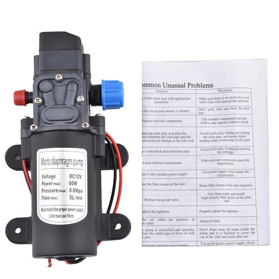60W 12V 80PSI Water Pump High Pressure 5L/Min Self-Priming Caravan Camping Boat