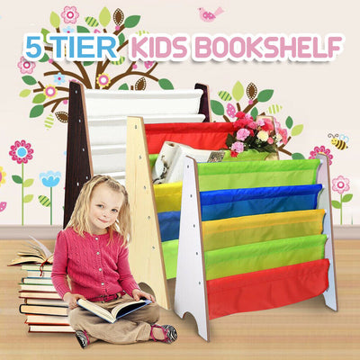 5 Tier Kids Bookshelf Children Bookcase Organiser Magazine Display Shelf Rack