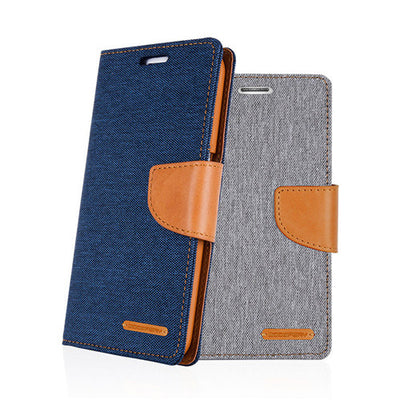 For Samsung S7/ Edge Genuine Goospery Flip Canvas Leather Card Wallet Case Cover