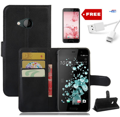 New Wallet Leather Case Cover For HTC U Play + Screen Protector+ USB Cable