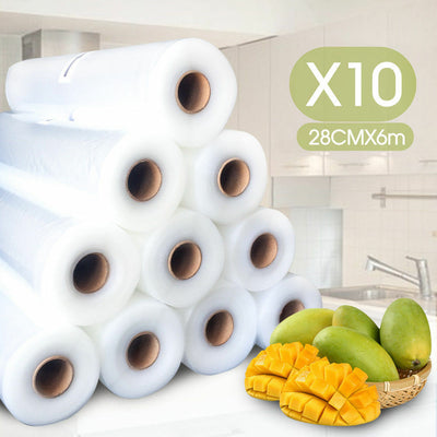 10x Vacuum Food Sealer Bags Roll Saver Seal 6M x 28cm Heat Grade