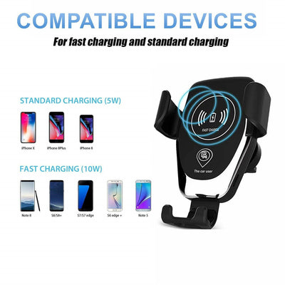 Qi Wireless Fast Charger Car Holder Gravity Mount For iPhone X Xs Max S9+ Note 9