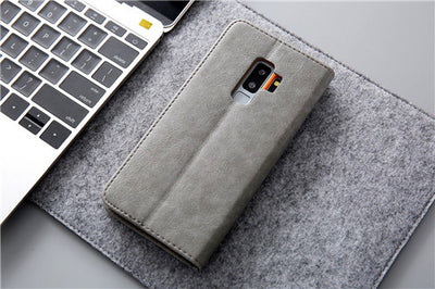 Samsung S9 S8 Plus S7 Edge Magnetic Flip Leather Wallet Card Case Stand Cover