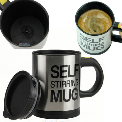 2X Auto Mixing Stir Self Stirring Mug Coffee Tea Cup Stainless Lazy Battery