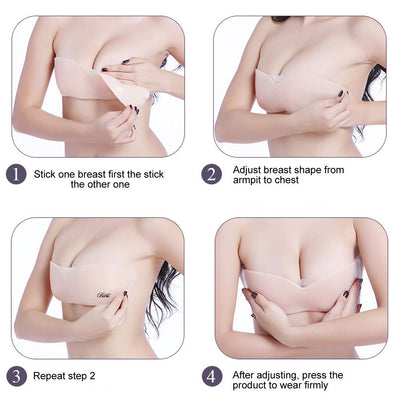 One Piece Silicone Invisible Bra Adhesive Push Up Strapless Backless Lingerie