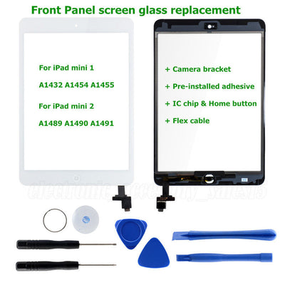 White Touch Screen Glass Digitizer Replacement + IC chip+Home For iPad mini 1 2