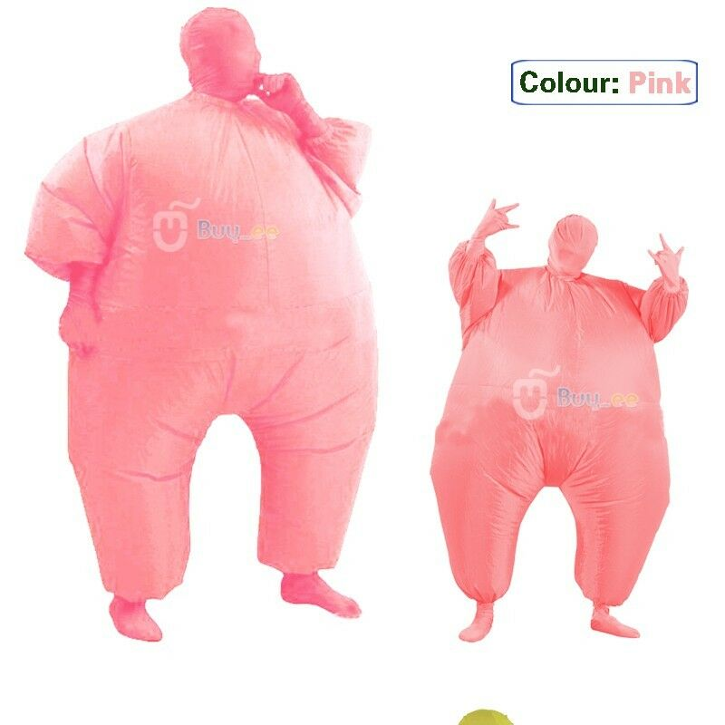 Inflatable Suit Fancy Dress Fan Operated Costume Fat Masked Blow Up Chub