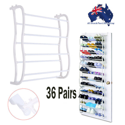 36 Pair Shoe Holder Organiser Over The Door Hanging Shelf Rack Storage Hook