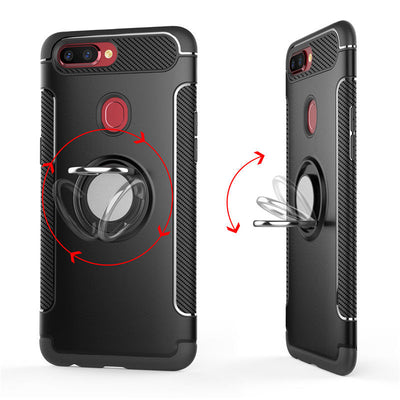 For Oppo A73 AX5 R15 Pro Dual Layer iRing Hard back Magnetic Circle Case Cover