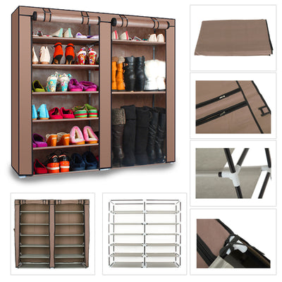 DIY Shoe Rack 2 Doors Cover 7 Tier Shoes Cabinet Storage Organizer Brown/SILVER
