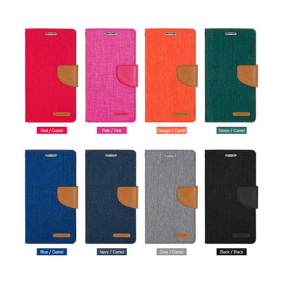 For Samsung S8/ Plus Genuine Goospery Flip Canvas Leather Card Wallet Case Cover