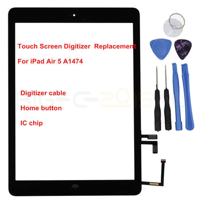 iPad Air A1474 Touch Screen Digitizer Front Lens with IC Chip Replacement