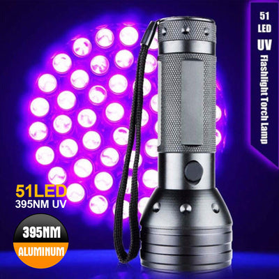 51 LED 395 nM UV Ultra Violet Flashlight Blacklight Torch Light Lamp Aluminum
